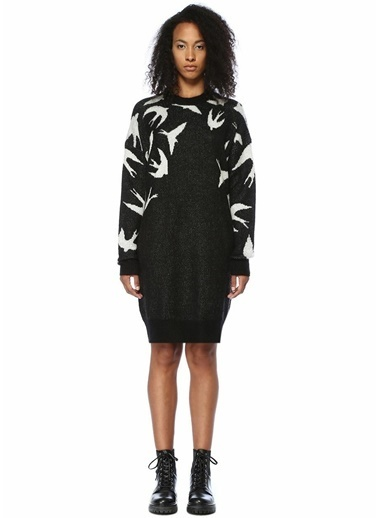 McQ Alexander McQueen Uzun Kollu Kuş Jakarlı Midi Elbise Siyah